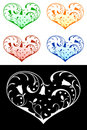 Hearts with floral decorations Royalty Free Stock Photography