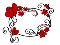 Hearts and floral frame Royalty Free Stock Image