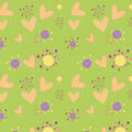 Hearts floral seamless pattern wallpaper Stock Photos