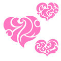 Hearts flourishes a set of with Royalty Free Stock Photo