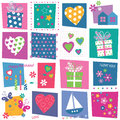 Hearts flowers and birthday gifts background butterflies balloons toys pattern on colorful rectangular Royalty Free Stock Photos