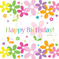 Hearts flowers and butterflies happy birthday card greeting on white background Royalty Free Stock Photos