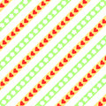 Hearts and flowers on diagonally stripes red white yellow green white background in a square format Royalty Free Stock Photography