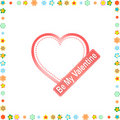 Hearts and flowers frame. wedding or valentine`s Stock Photos