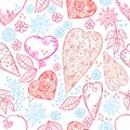 Hearts and flowers seamless texture Royalty Free Stock Photo