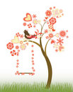 Hearts and flowers with a swing Royalty Free Stock Photo
