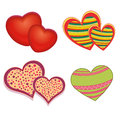 Hearts four different with different colors and textures Stock Photo