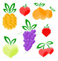 Hearts - fruits Stock Images
