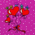 Hearts and gifts background with red Stock Photography
