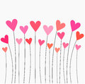 Hearts growing pink and red balloons vector illustration background Stock Photo