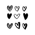 Hearts hand drawn vector art icons for Valentine day Royalty Free Stock Photo