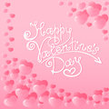 Hearts with a hand lettering of Happy Valentine`s Day. Holiday card, shipping label, packaging. Invitation for party. Royalty Free Stock Photo