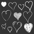 Hearts icon set. Love hand drawn vector illustration on black ba