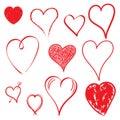 Hearts icon set. Love hand drawn vector illustration on white ba