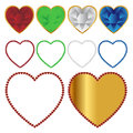 Hearts icons and frames set of isolated on white background Stock Photography