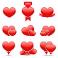 Hearts icons red on white background Stock Photos