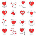 Hearts icons set of hand drawn heart for romantic design Stock Image