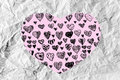 Hearts idea design on crumpled paper an images of Royalty Free Stock Photos
