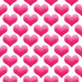 Hearts illustration seamless pattern Valentine`s day background colored pink