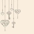 Hearts and keys vintage hanging Royalty Free Stock Image