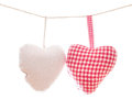 Hearts on a line shepherd s plaid heart and plain white one string for your love valentines or cardiology copy isolated white Stock Photography