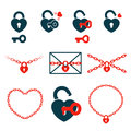 Hearts in locks, keys and chains, icon set concept Royalty Free Stock Photo