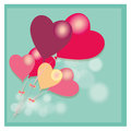 Hearts a lot of balloons in heart shape in a blue background Royalty Free Stock Images