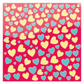 Hearts a lot of blue and yellow in red background Royalty Free Stock Photos