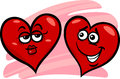 Hearts in love cartoon illustration of two on valentine day Royalty Free Stock Images