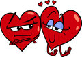 Hearts in love cartoon illustration of two on valentine day Royalty Free Stock Photo