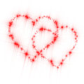 Hearts love stars white two formed of bright red twinkling sparkling on background Royalty Free Stock Images