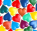 Hearts multi colored scattered around Stock Image