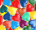 Hearts multi colored scattered around Royalty Free Stock Photography