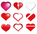 Hearts nine different shape Royalty Free Stock Photos