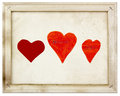 Hearts in old picture frame Royalty Free Stock Photo