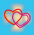Hearts over halftone background Royalty Free Stock Images