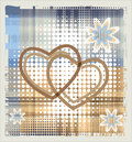 Hearts over halftone backgrpund Stock Image