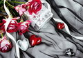 Hearts over Textile Stylish Valentine Still Life Stock Photography