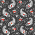 Hearts and paisley pattern Stock Photos