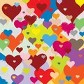 Hearts pattern multicolored joyful accumulation in multiple colors Stock Photo