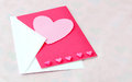 Hearts in pink on a light background with room for text Royalty Free Stock Photo