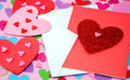 Hearts in pink and red on a heart background with room for text Royalty Free Stock Image