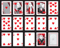 Hearts playing cards set of in red including joker Royalty Free Stock Images