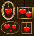 Hearts portrait frames Royalty Free Stock Images
