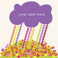 Hearts rain and clouds speech bubbles children s vector illustration Stock Images
