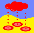 Hearts rain from red cloud – broken heart Stock Images