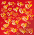 Hearts on red background vector graphic image with yellow Stock Photos