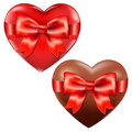 Hearts With Red Bow Stock Photos