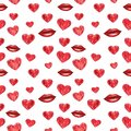 Red hearts and lips seamless pattern, watercolor illustration