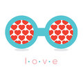 Hearts reflection eyeglasses vector illustration Royalty Free Stock Images